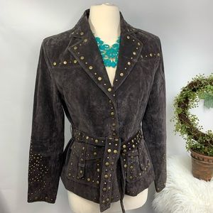 Bernardo genuine brown studded  leather jacket